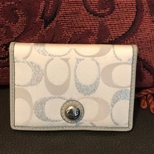 Authentic Coach Silver, Grey and White Card Holder